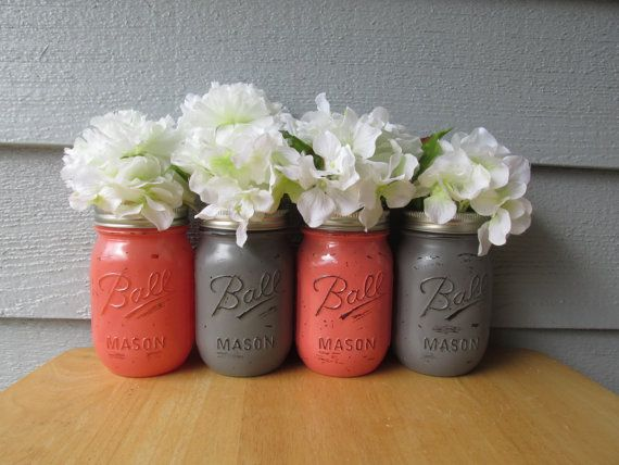 Painted+and+Distressed+Ball+Mason+Jars+Coral+by+Theretroredhead2,+$28.00