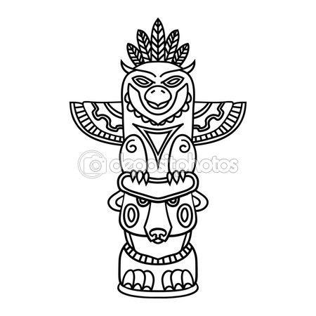 Doodle tradicionales Tótem tribales aisladas sobre fondo blanco ...