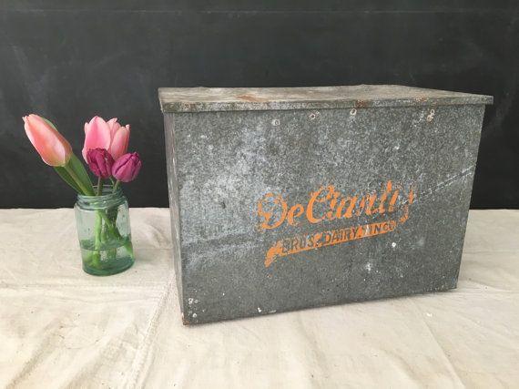 This Is A Vintage Deciantis Bros Dairy Inc Galvanized Metal Milk Box Dairy Box With Lid This Is An Oversized Box Not Your Milk Box Box With Lid Handmade
