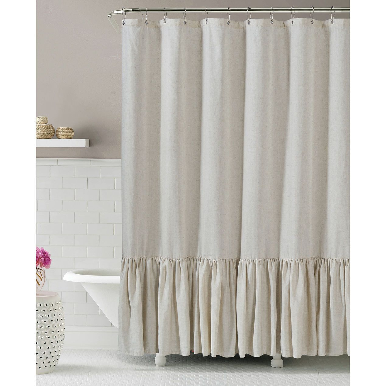 Gabriella Natural Linen Shower Curtain Ruffle Shower Curtains Custom Shower Curtains Fabric Shower Curtains