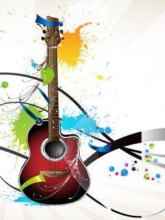 Color Art Guitar Mobile Wallpaper Guitar Art Acoustic Guitar Art Colorful Art