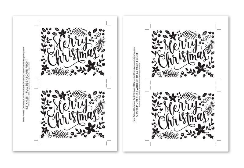 image about Printable Christmas Cards Black and White titled Do it yourself Foil - Hand Painted Xmas Card Printable (black