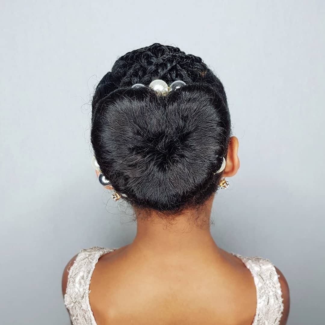 Heart Bun Hairstyles For Curly Little Girls African American