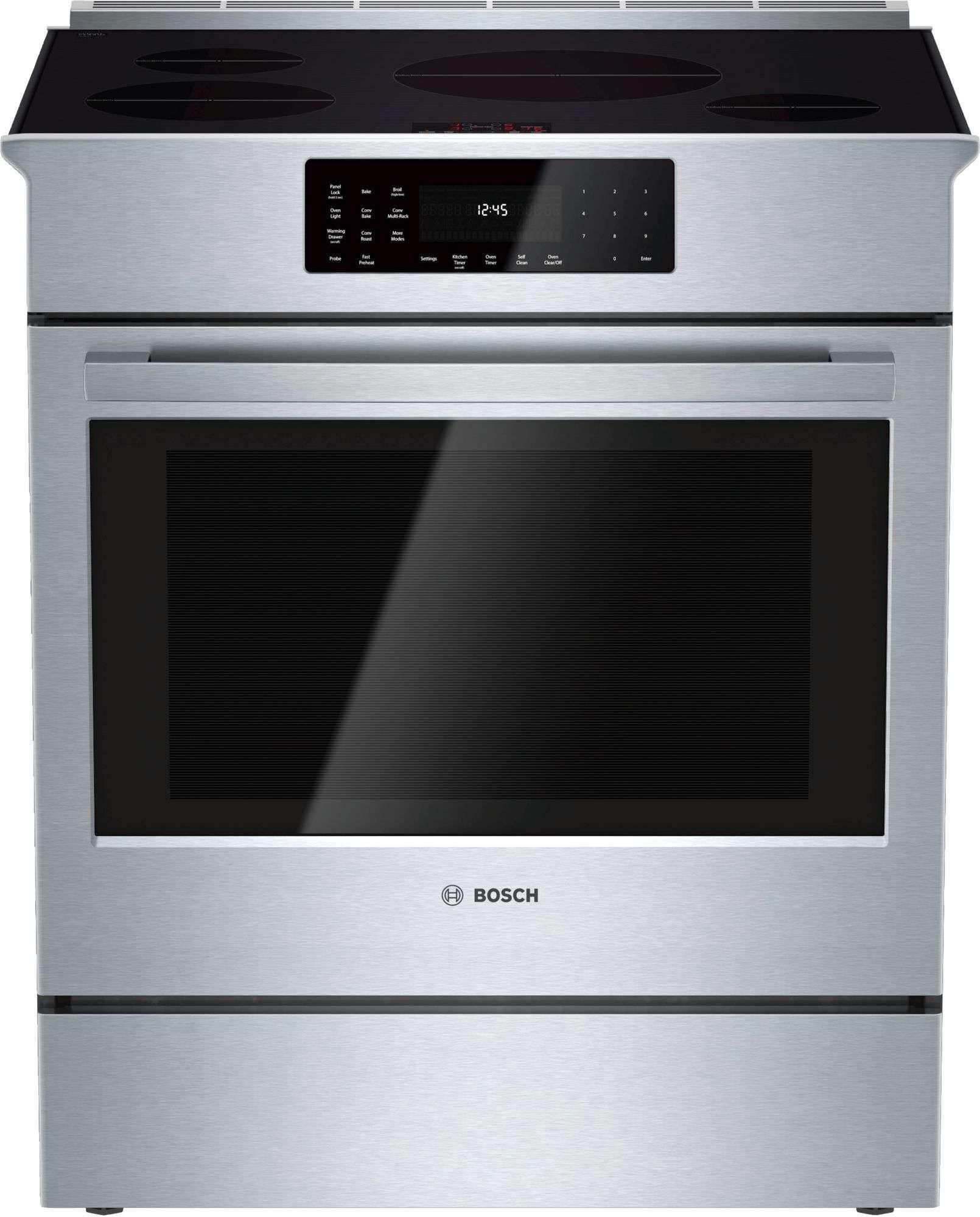 Bosch hii8055u slide in range range cooker