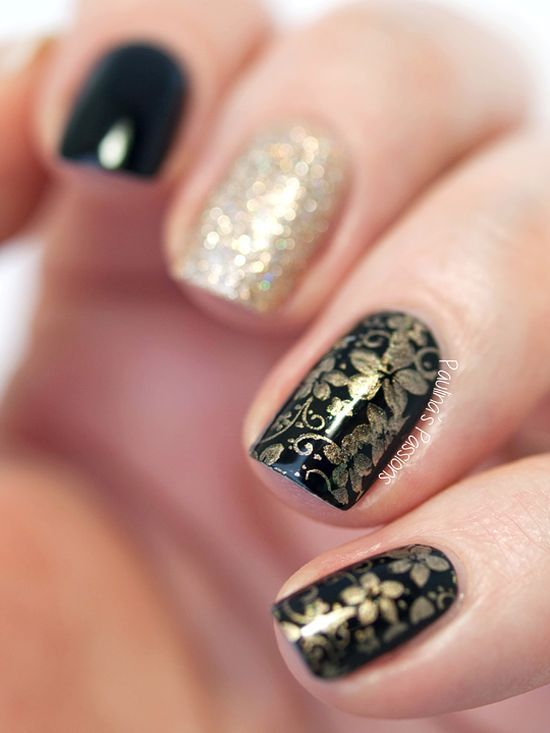 Stunning Golden And Black Nails With Stamped Floral Designs Black