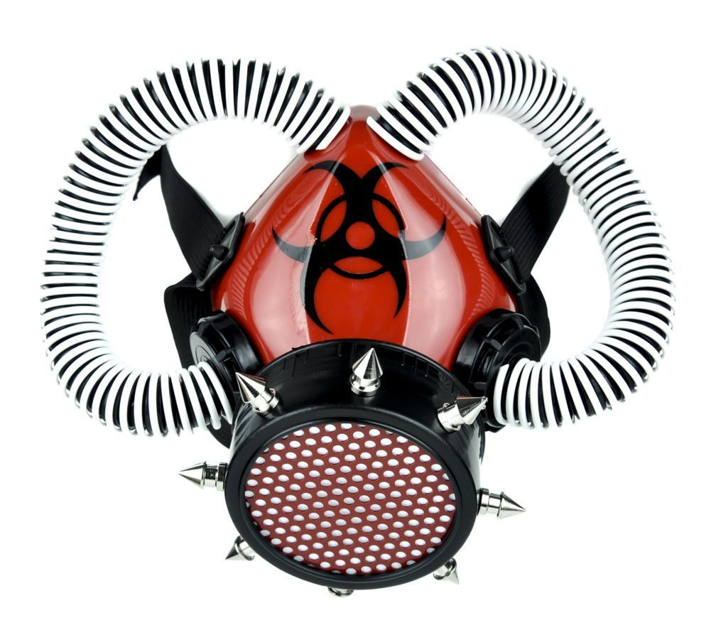 Red Cyber Respirator Gas Mask with White Coil on Black Tubes ...