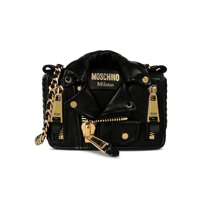 Moschino Biker Jacket Womens Small Leather Shoulder Bag Black