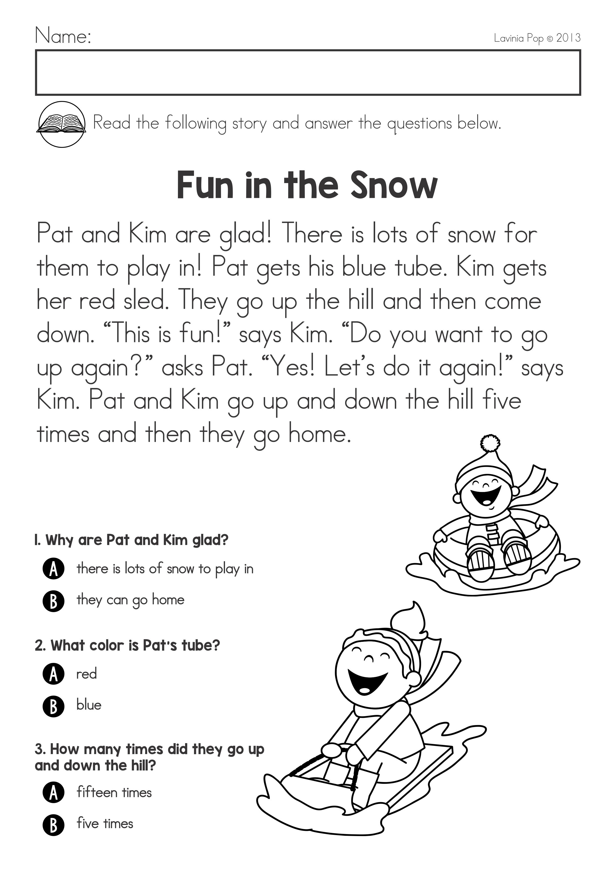 Winter Literacy Worksheets And Activities No Prep Packet Reading Comprehension Reading Comprehension Worksheets Literacy Worksheets Math Addition Worksheets Guided reading activities for winter