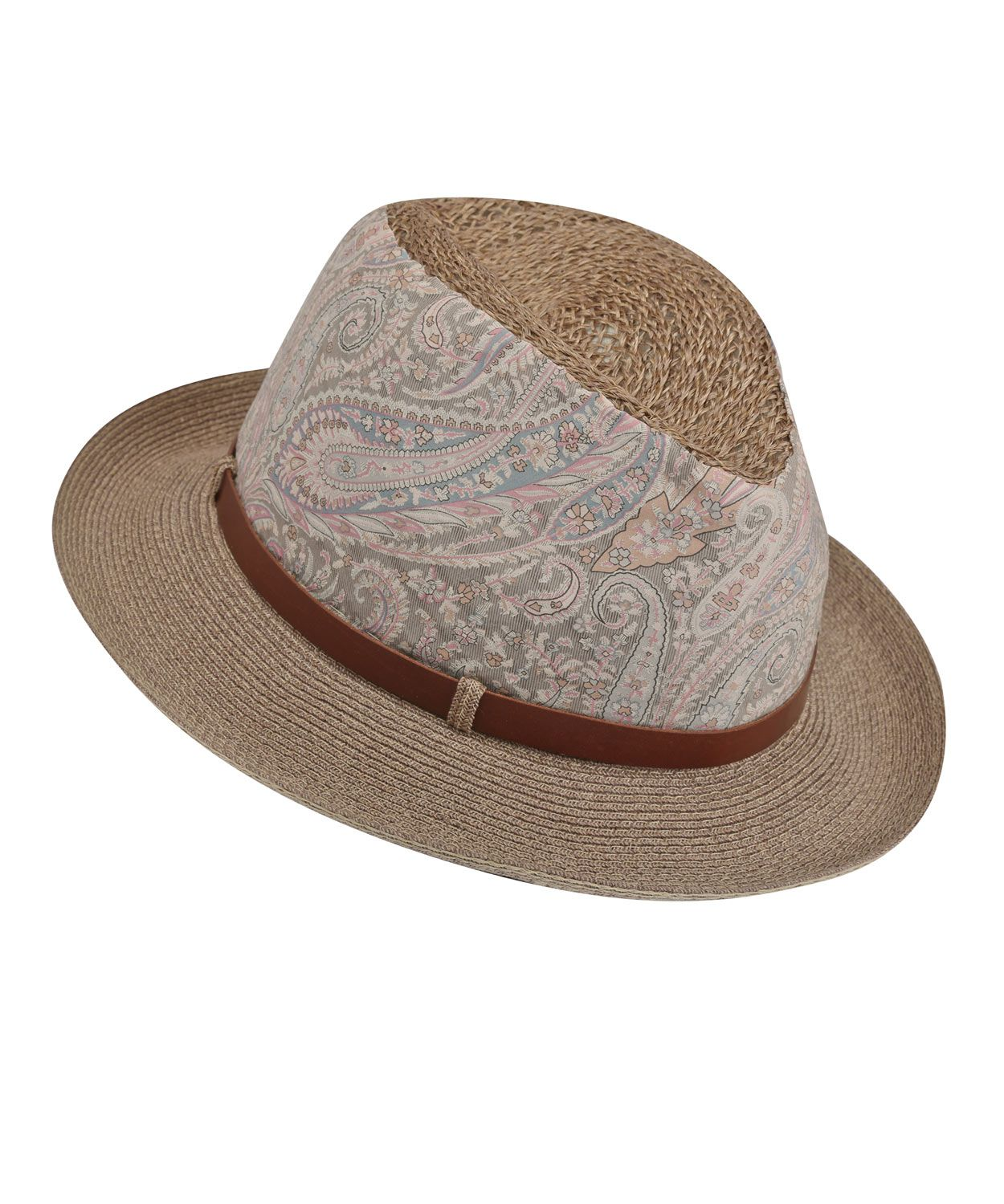 038d2d3860516e Beige Belted Paisley Panama Hat, Grevi. Shop more hats from the Grevi  collection online at Liberty.co.uk
