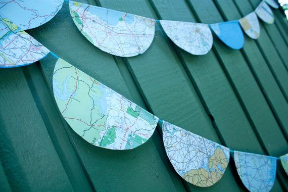 Simple recycled map garland