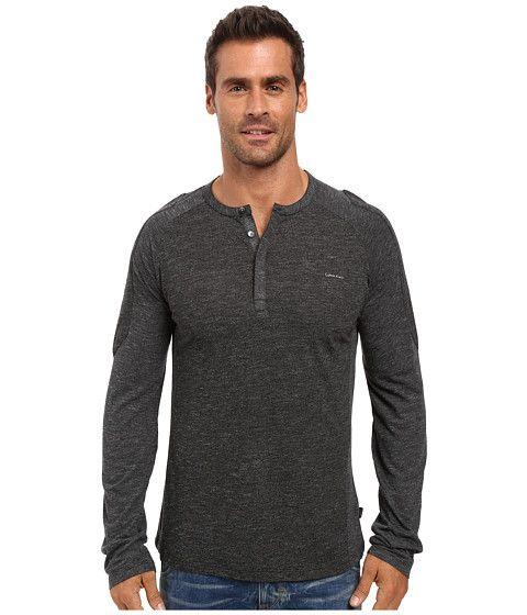 CALVIN KLEIN Long Sleeve Color Blocked Henley. #calvinklein #cloth #shirts & tops