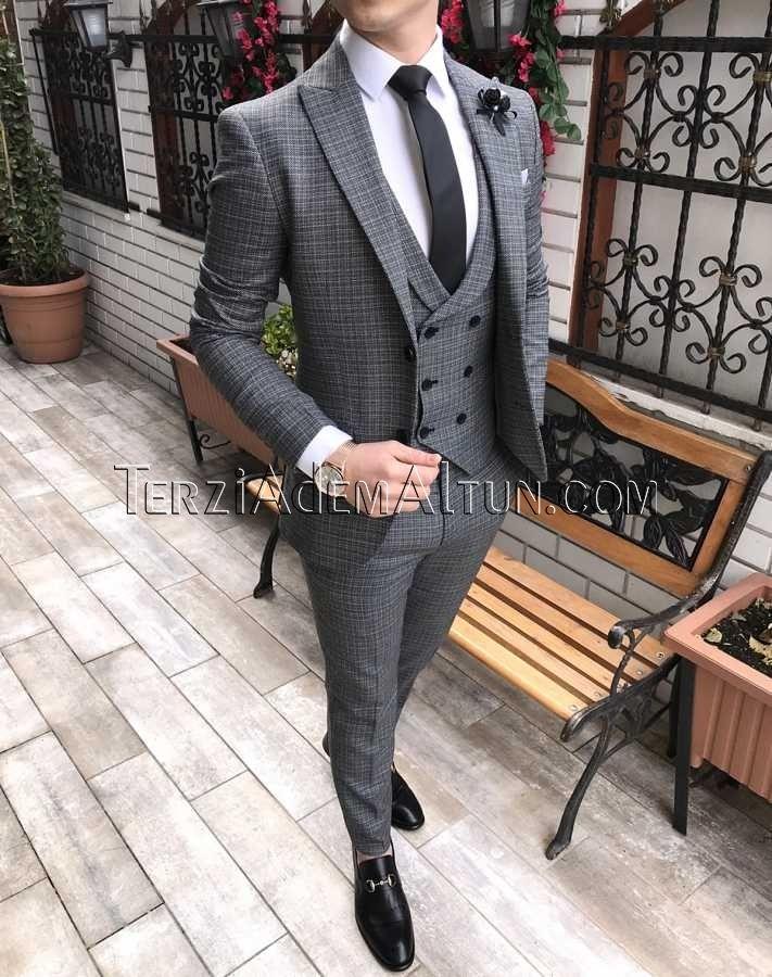 b8189b8108f35 İtalyan kesim erkek ceket yelek pantolon siyah takım elbise T2301 ...