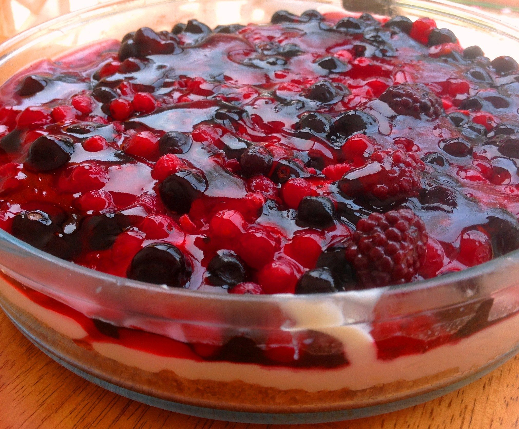 Cheesecake Topped With Forest Fruit Rich Jelly