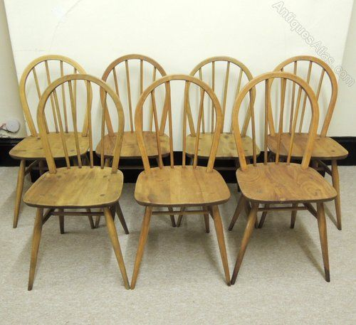 Antiques Atlas - Retro Set Of 7 Ercol Low-back Windsor Chairs ...