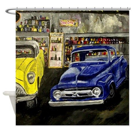 Vintage Truck and Car Shower Curtain | Pinterest | Vintage trucks ...