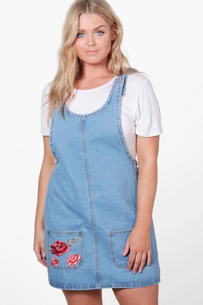 3633cb52377 Plus Lou Embroidered Pocket Denim Pinafore Dress