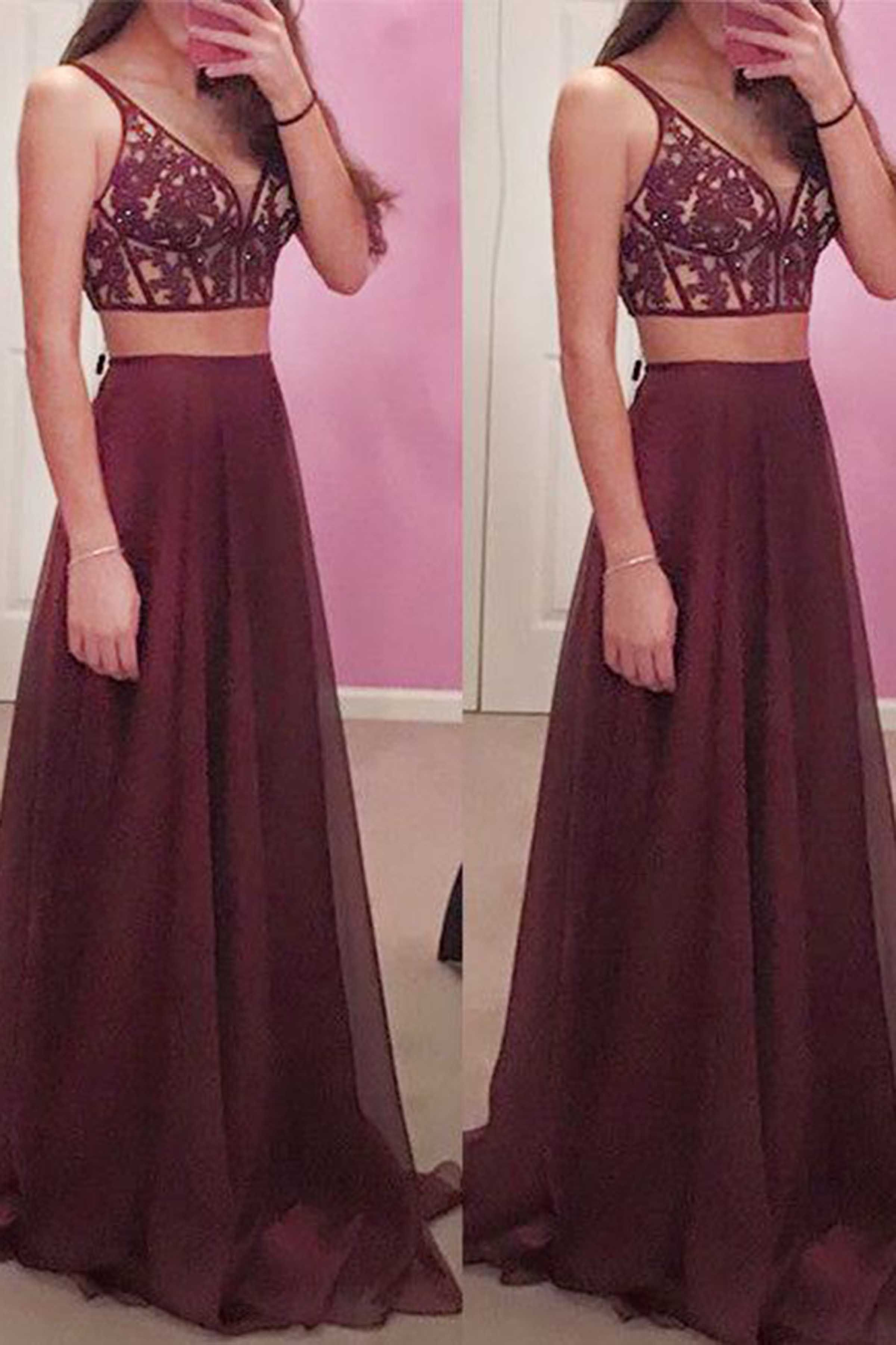 Beautiful burgundy lace chiffon two pieces prom dress evening gown
