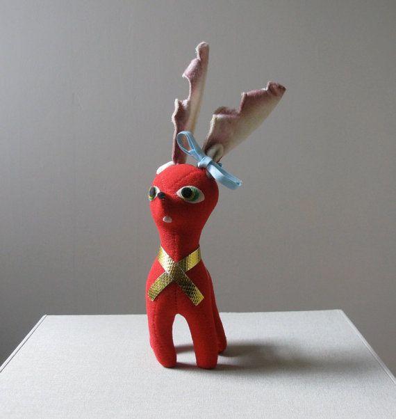 Vintage Felt Reindeer By Holidayroadvintage On Etsy 20 00 Christmas Reindeer Reindeer Christmas Ornaments