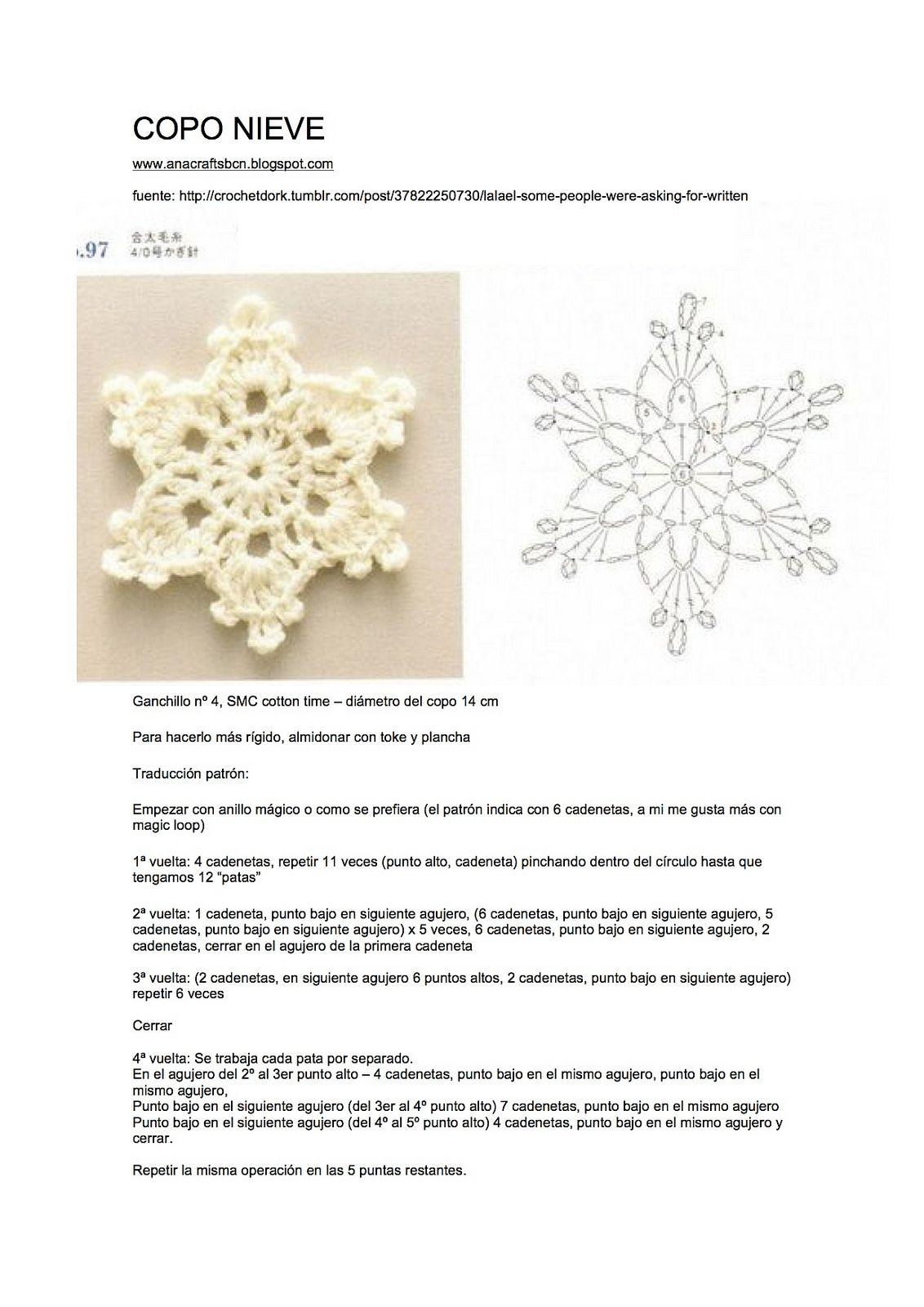 patron crocheted snowflake | Fiocchi di neve all\'uncinetto ...