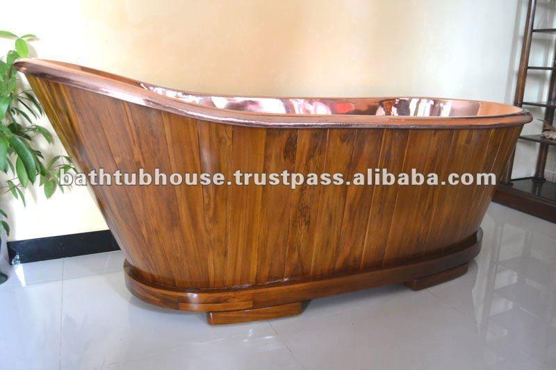 Copper Bathtub With Teak Wood - Buy Copper Bathtub,Bathtub,Hammered ...
