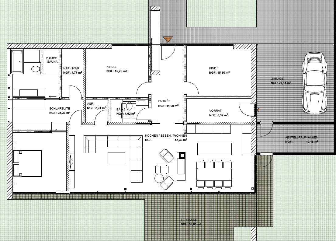modernes wohnen auf einer ebene bungalow bauen architektur pinterest modernes wohnen. Black Bedroom Furniture Sets. Home Design Ideas