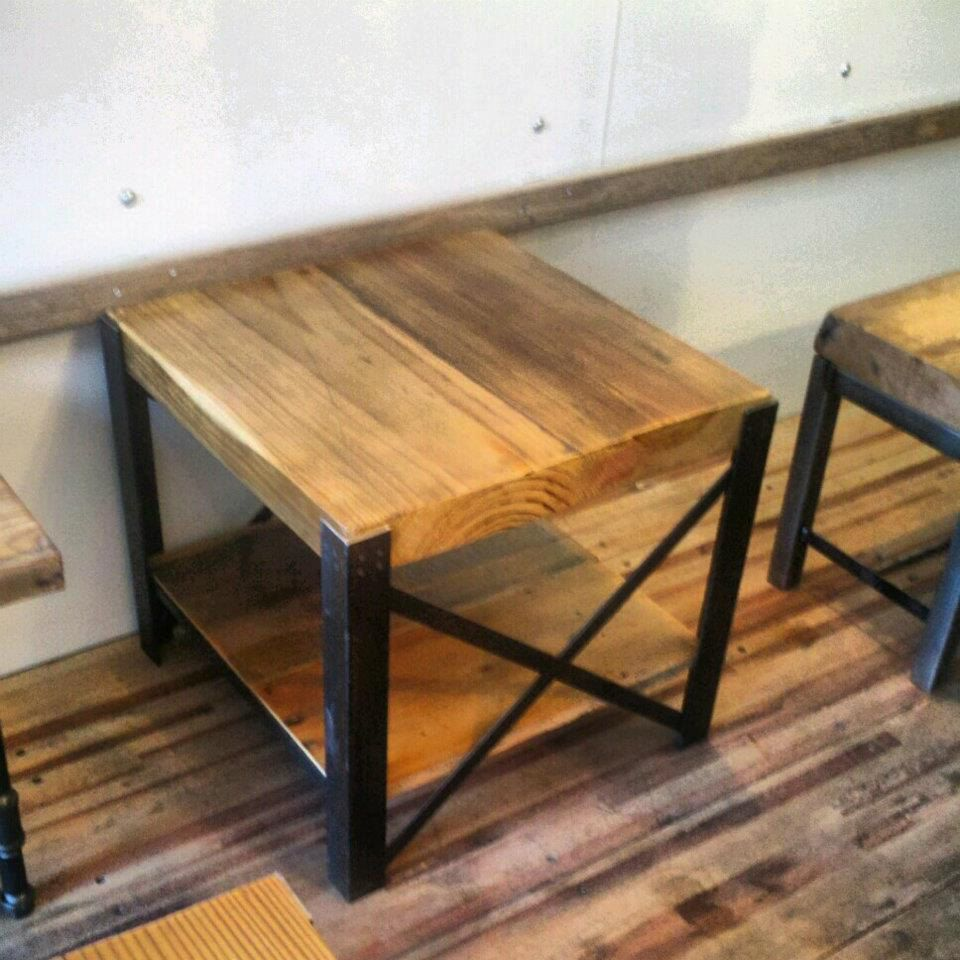 Reclaimed wood and steel coffee table x frame style Wood and steel furniture