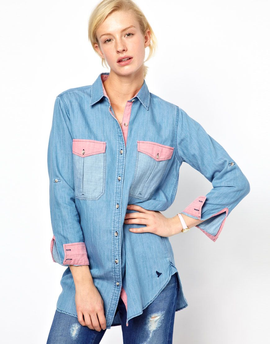 Contrast Chambray Shirt