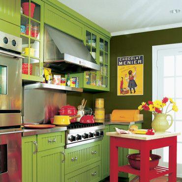 décoration cuisine colorée | Bright colours, Kitchens and Stove oven