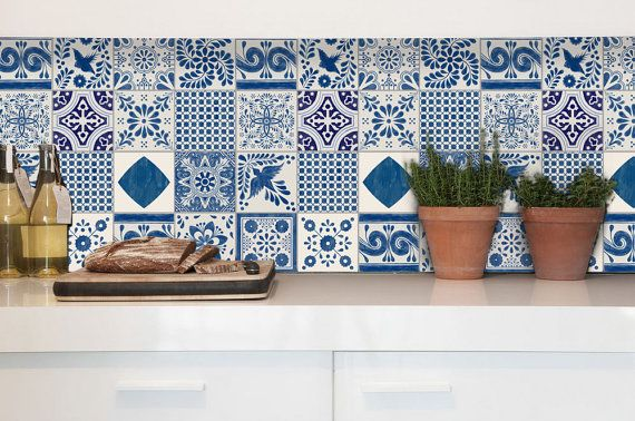 Tile Decals Tiles For Kitchen Bathroom Back Splash Floor Decals Indigo Mexican Tile Sticker Mix 48 Pack Tile Decals Kitchen Tiles Tiles