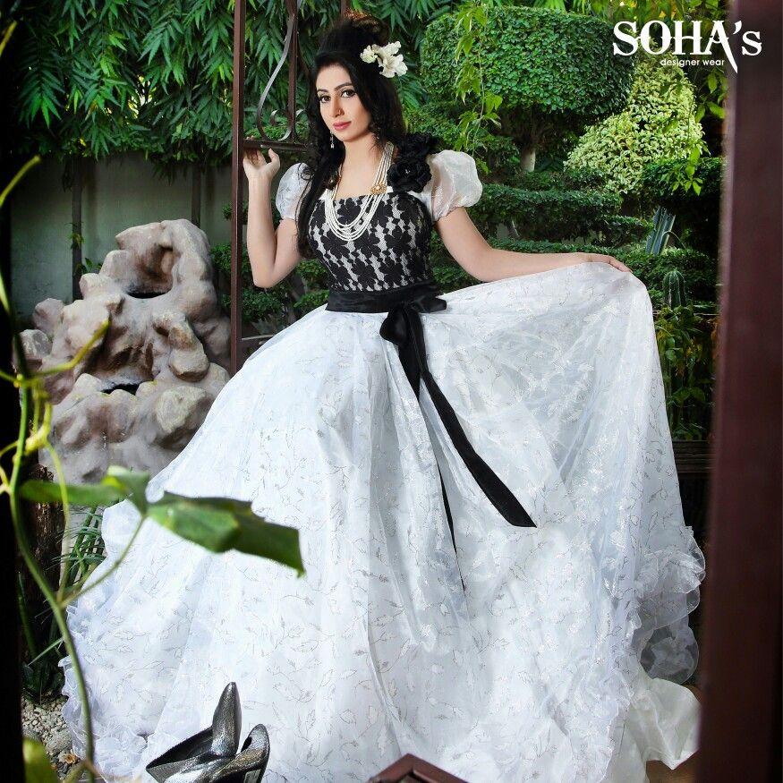 White Western Formal Gown By Sohas Designer Wear Dress Code Is F