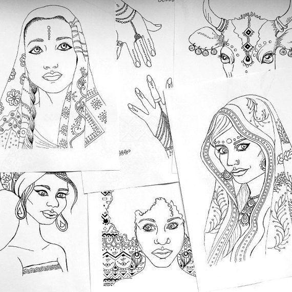 Coloring Book Indian And African Portraits By IvyLilyArt
