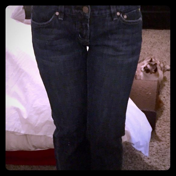 Bebe jeans look New! In great condition bebe size 29 petite bootcut blue jeans!! They look BRAND NEW! bebe Jeans