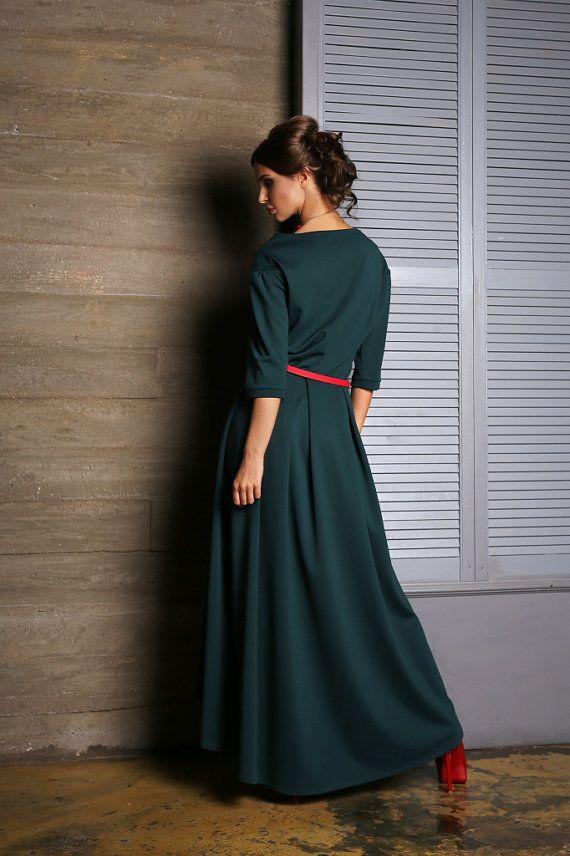 Dark Green dress Asymmetric dress Occasion dress Autumn Dress floor ...