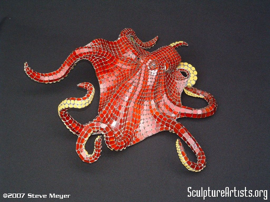 Red Octopus 3 D Glass Sculpture By Steve Meyer Composed Of Approximately 2 500 Pieces Of Glass Meyer Is One Of The World Red Octopus Glass Sculpture Octopus