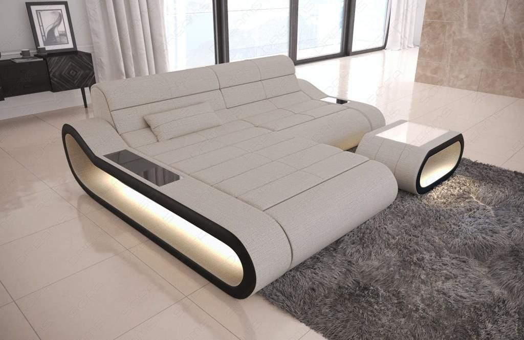 Stoff Couch Concept in der L Form mit LED Lampen | Sofa ...
