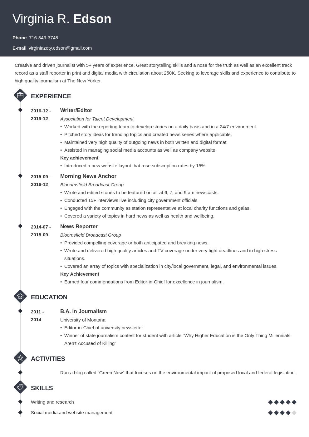 Journalism Resume Example Template Diamond Resume Examples Job Resume Examples Resume Layout