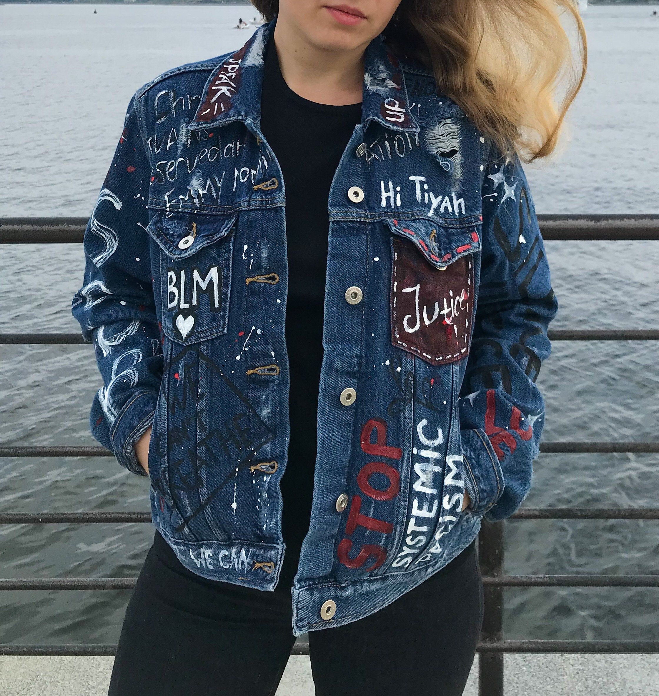Excited To Share This Item From My Etsy Shop Black Lives Matter Hand Paint Denim Jacket Custom Jean Jacket In 2021 Denim Jacket Hand Painted Denim Jacket Jackets [ 2366 x 2240 Pixel ]