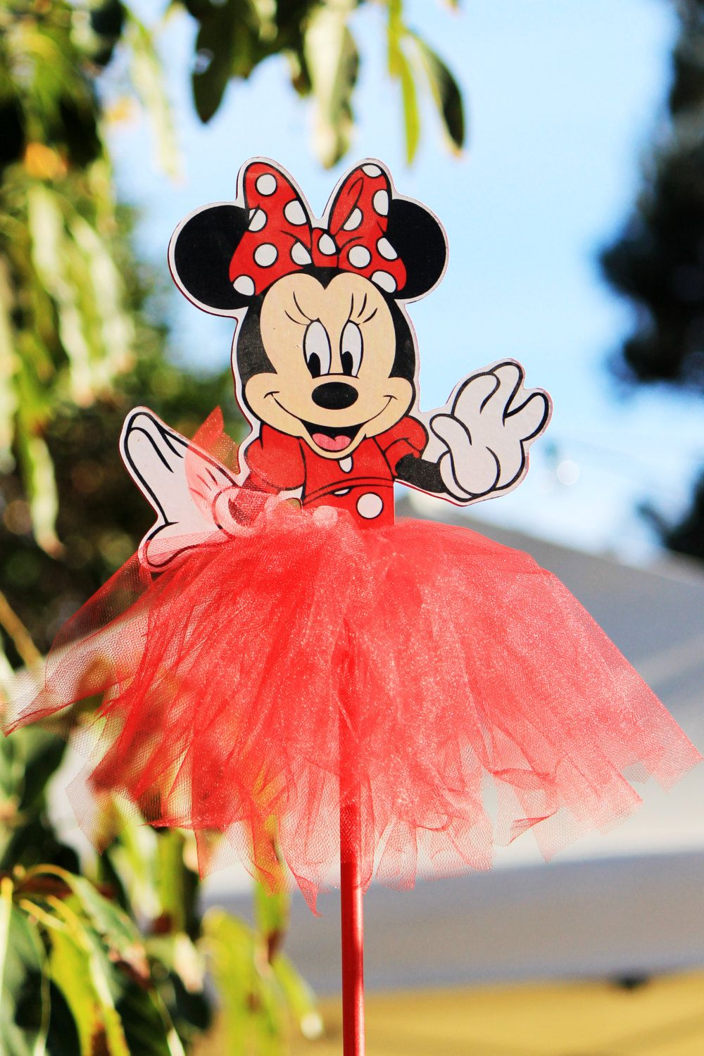 Minnie mouse red polka dot wood centerpiece with tutu for