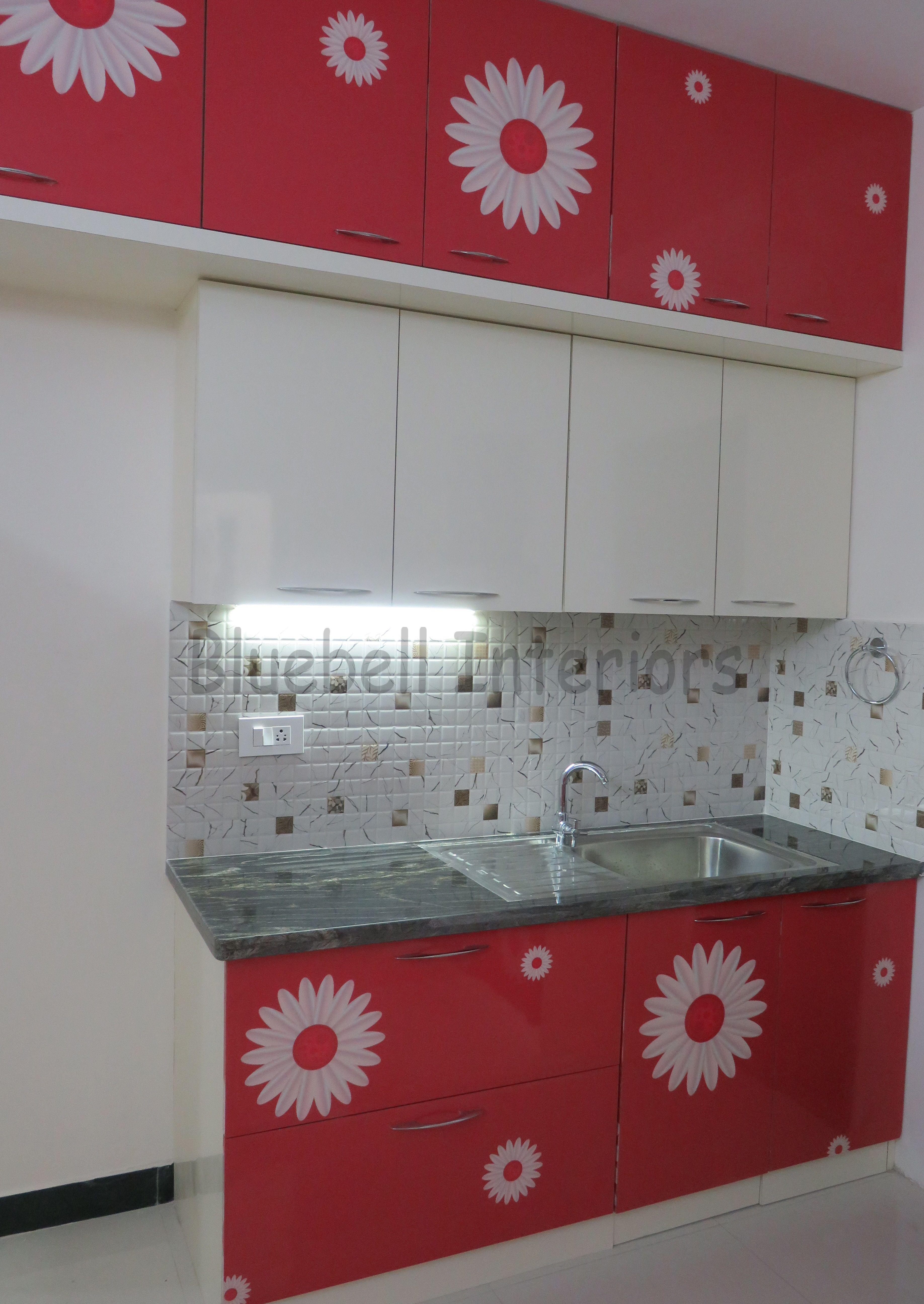 Red Cream Modular Kitchen Back Counter For Sink Loft Storage Cream Color Overhead Kitchen Loft Storage Steel Kitchen