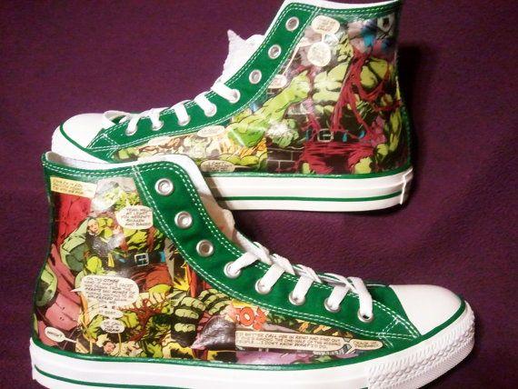 The Incredible Hulk - Bruce Banner - Marvel Comics - High Top Converse - Comic Book Shoes
