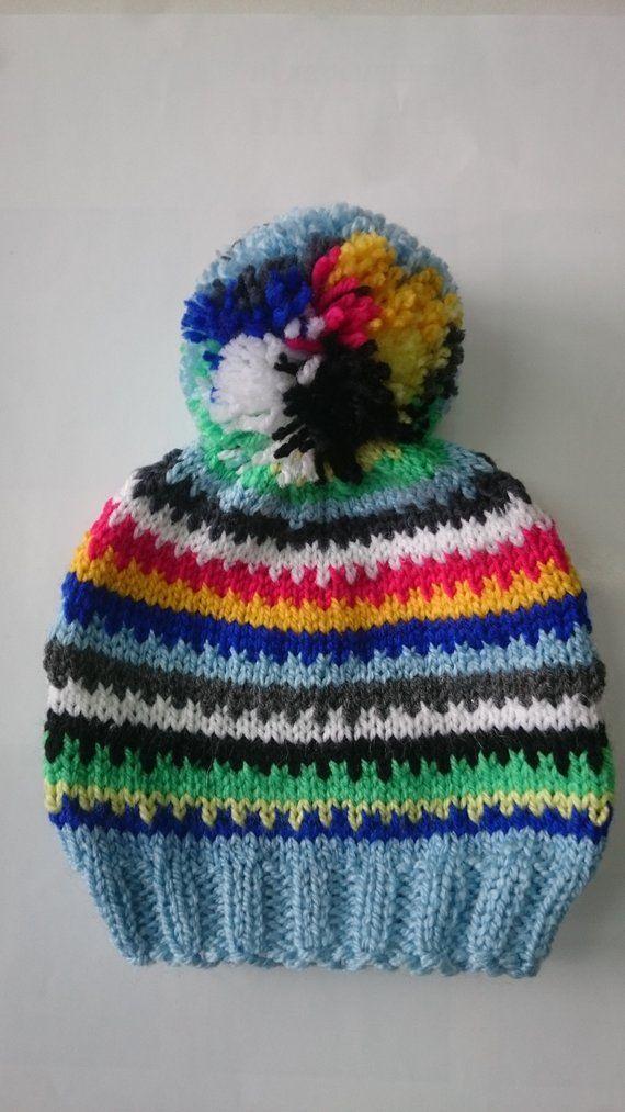 Photo of Baby Boy Beanie, Striped Baby Boy Hat, Newborn Knit Hat for Boy, Infant Winter Hat, Pom Pom Hat, Denim Blue  Baby Hat, Knit Kids Hat