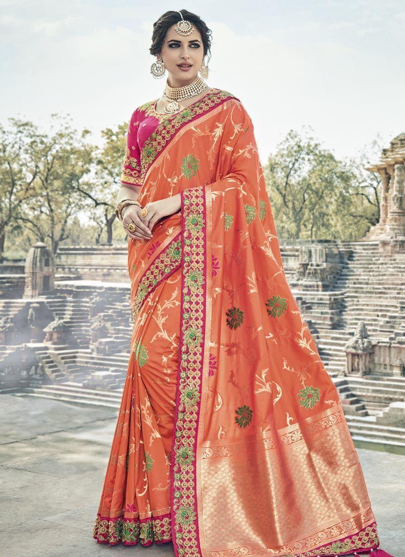 63140df91c80fe Buy Orange and pink silk wedding wear saree in UK