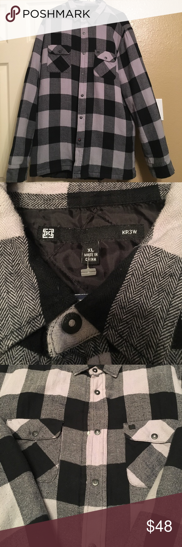 Flannel shirt black and grey  Krw black and gray flannel jacket  Flannel jacket Grey flannel