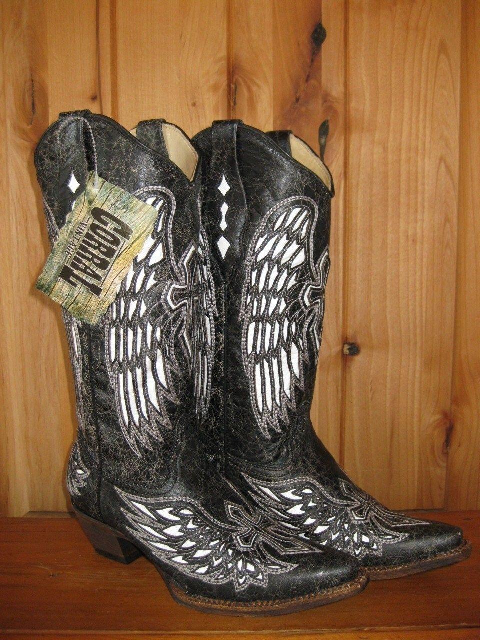 Corral Ladies Snip Toe Western Cowboy Boots Black Bone White Wing /& Cross A1018