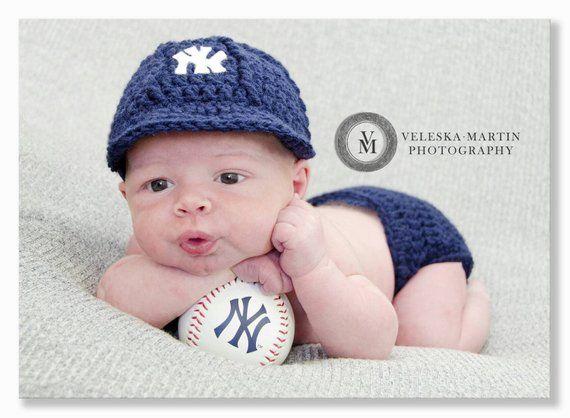 98c0bcae1 Crochet New York Yankees Baseball Hat and Diaper Cover.. fits ...