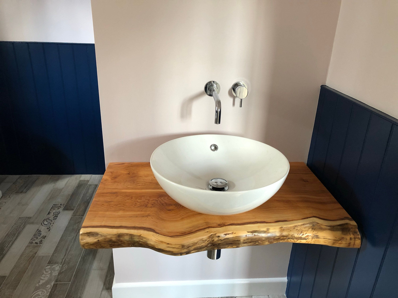 Rustic Floating Bathroom Vanity Basin Shelf Character Natural Wood
