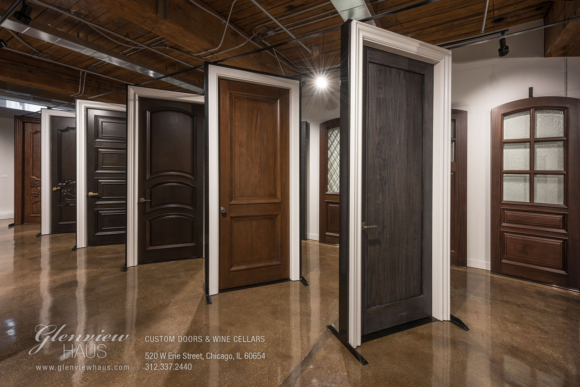 Glenview Haus Custom Doors And Wine Cellars Showroom Showroom Interior Design Custom Door Upvc Stable Doors