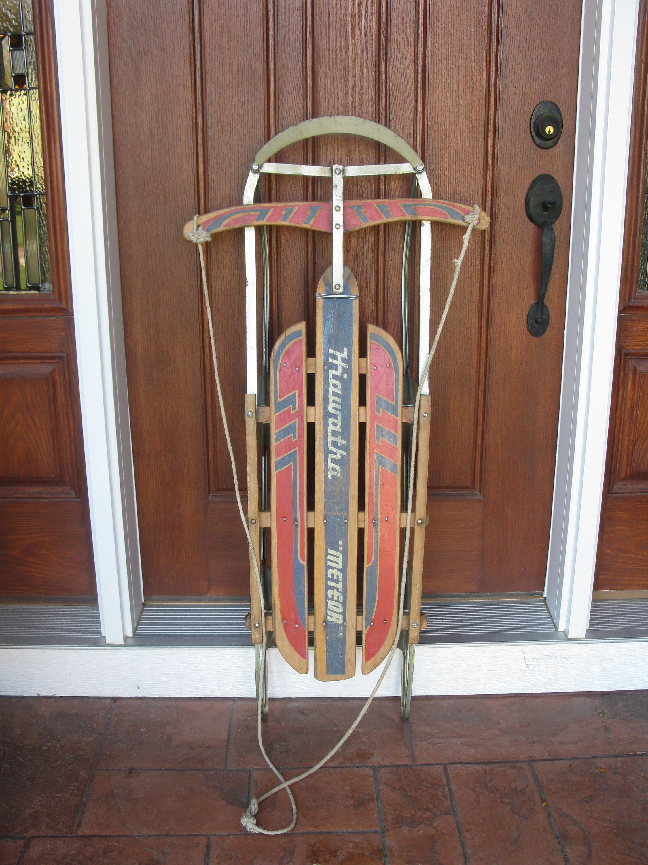 a18444015a046 1950s/ 60s HIAWATHA METEOR wood sled -steerable -metal runners ...