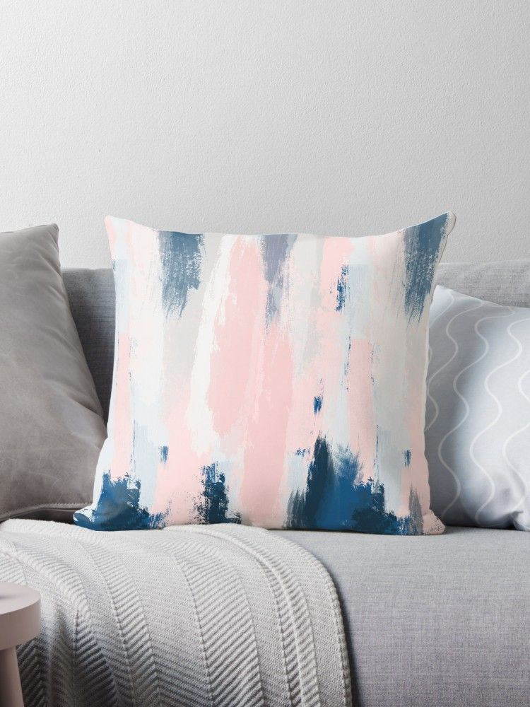 Abstract Blush And Blue Throw Pillow By Sharlenetait Blue And Pink Bedroom Blue And Pink Living Room Blue Throw Pillows
