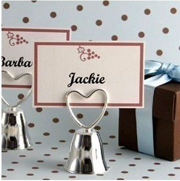 Heart SILVER BELL Place Card Holder Wedding Reception Shower Table Number Photo Wholesale Free